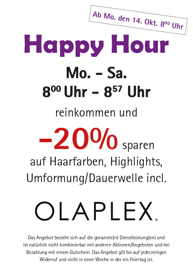 friseur hairdefinition wuerselen happy hour 8.00 Uhr 8.57 Uhr